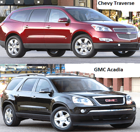 GMC Acadia and Chevrolet Traverse