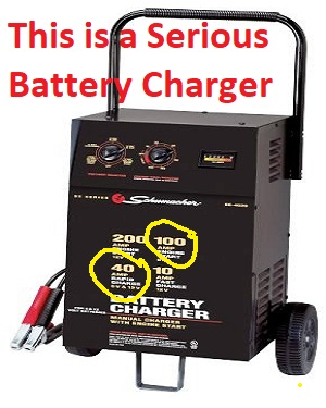 Powerful battery charger with engine start
