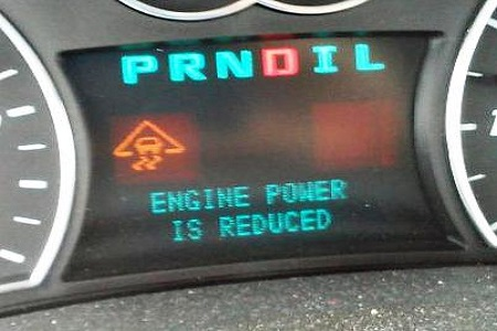 Engine power is reduced message