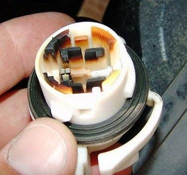 melted Chevy daytime running light socket